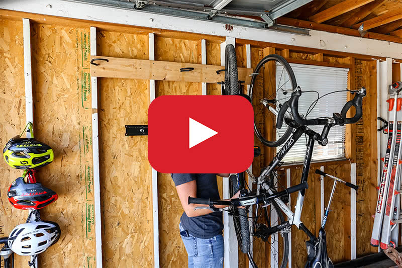 garage bike rack with playback button