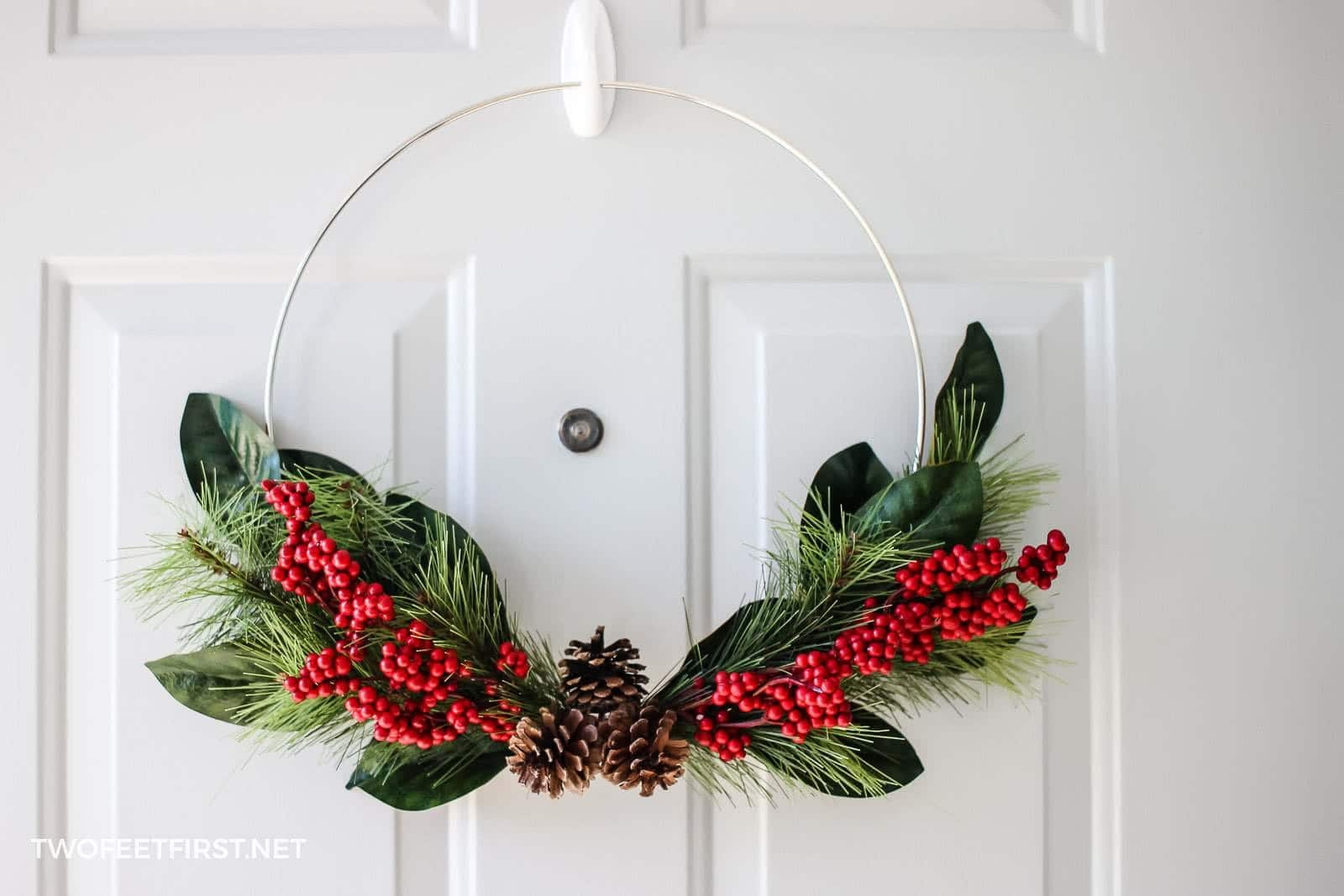 Diy Simple Christmas Hoop Wreath