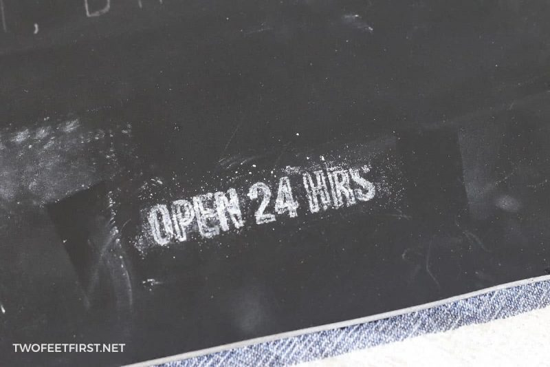 chalk trace onto chalkboard sign