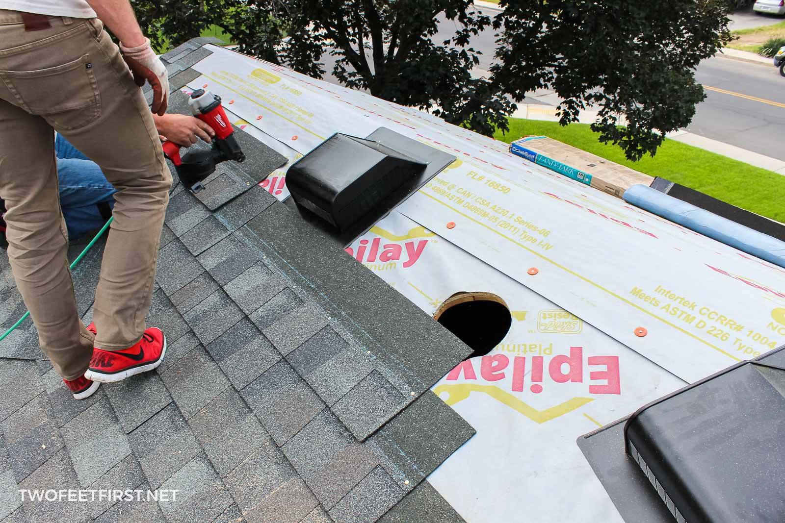 re-shingling roof