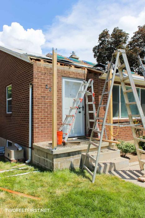 removing old porch from front of house