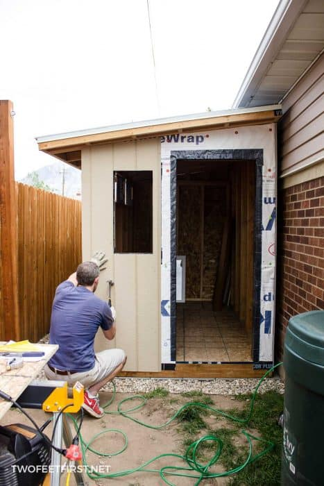 install LP panel on shed