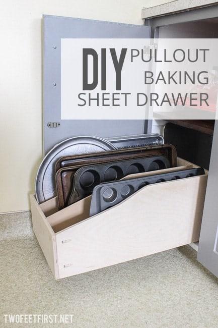 DIY pullout baking sheet drawer