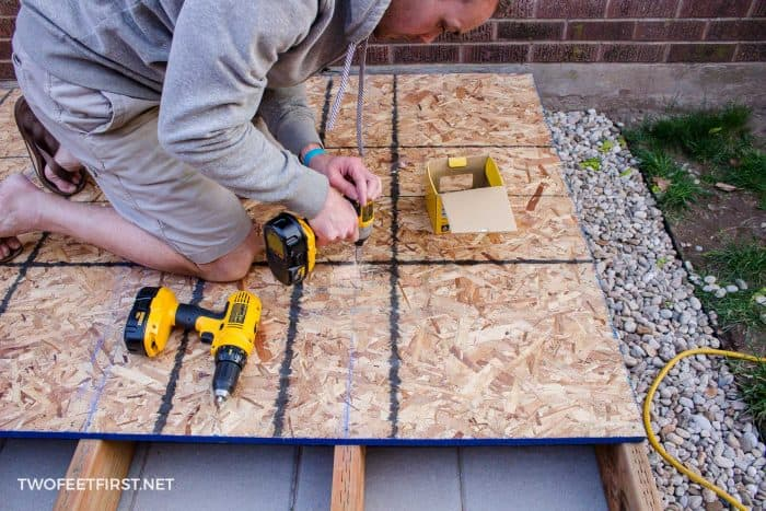 attach plywood with screws