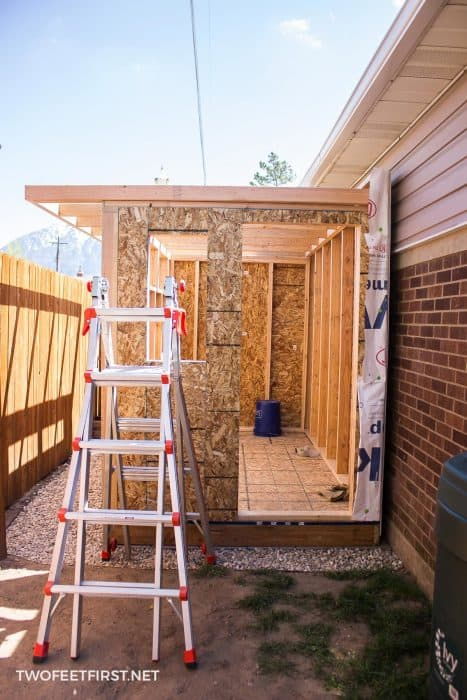 building roof for shed with ladder