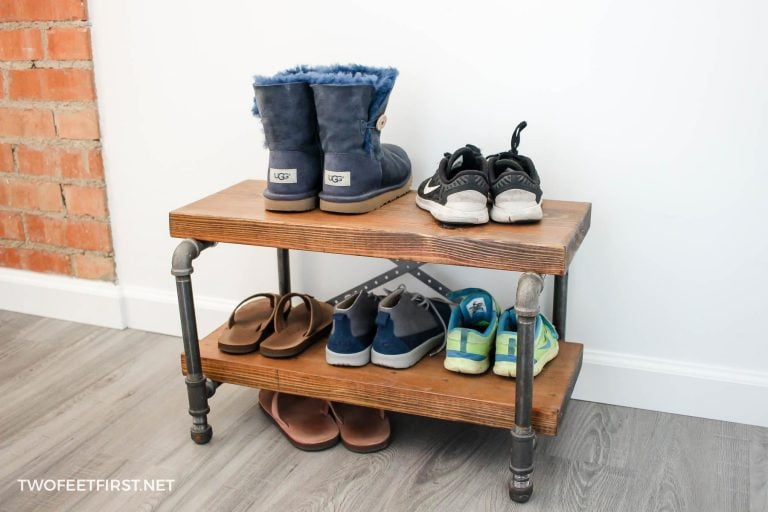 DIY Industrial Shoe Rack with pipe and wood