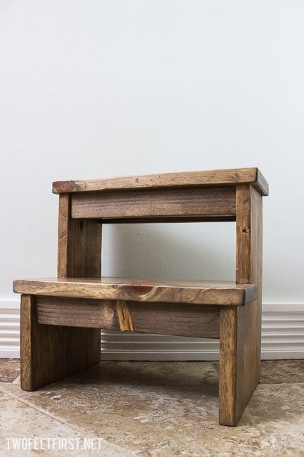 small wooden step stool for bathroom