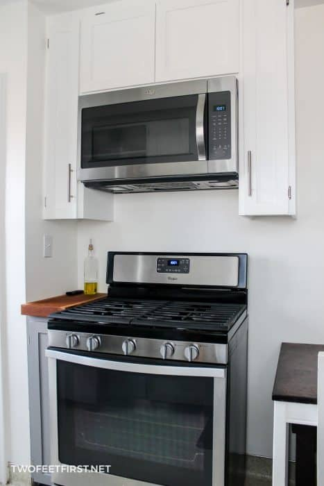 install cabinets around microwave