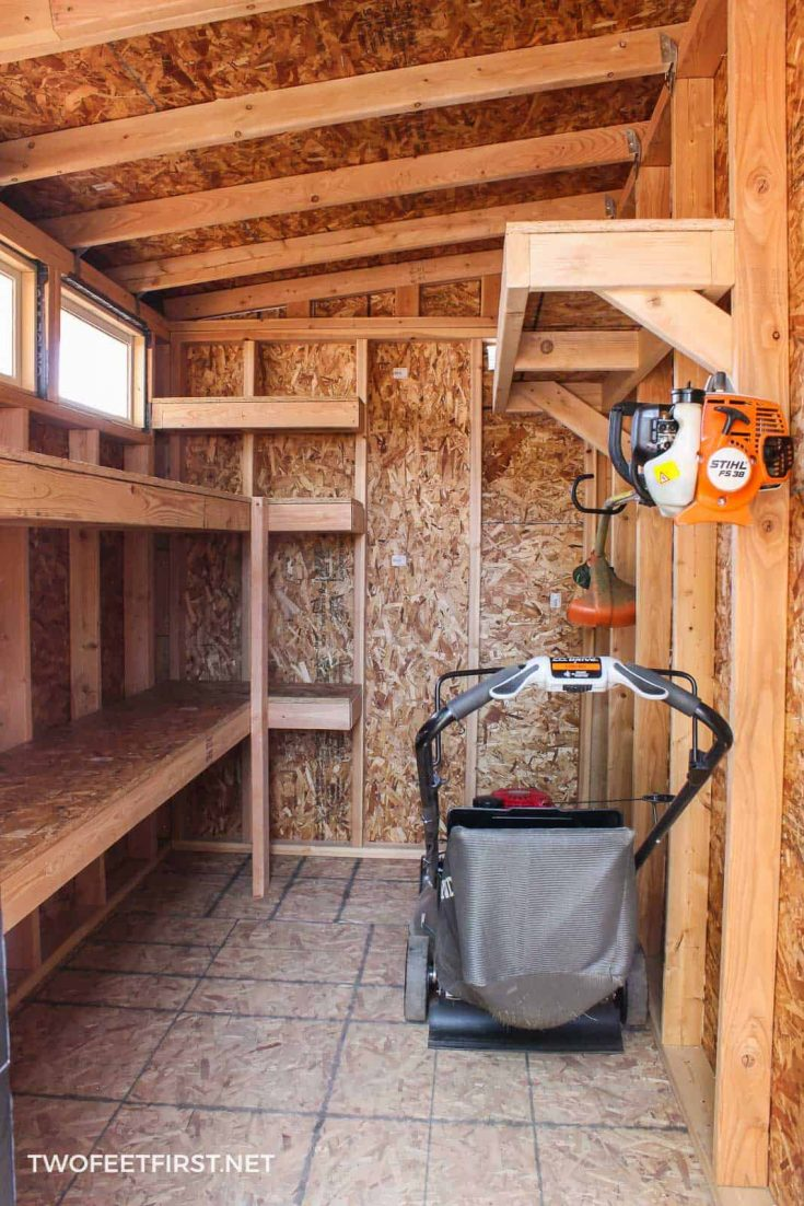 shed with lawnmower