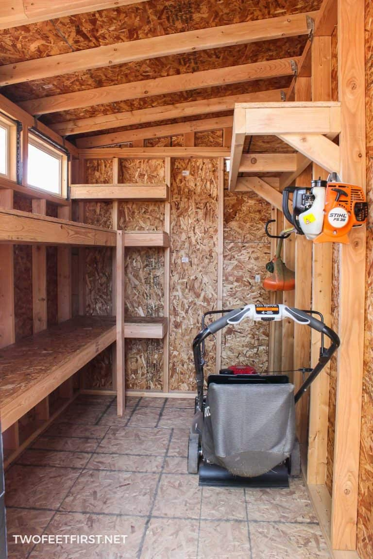 How to build storage shelves in a shed with 2×4 and plywood
