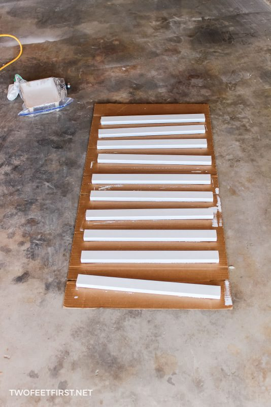 paint bracing for wall to wall shelves