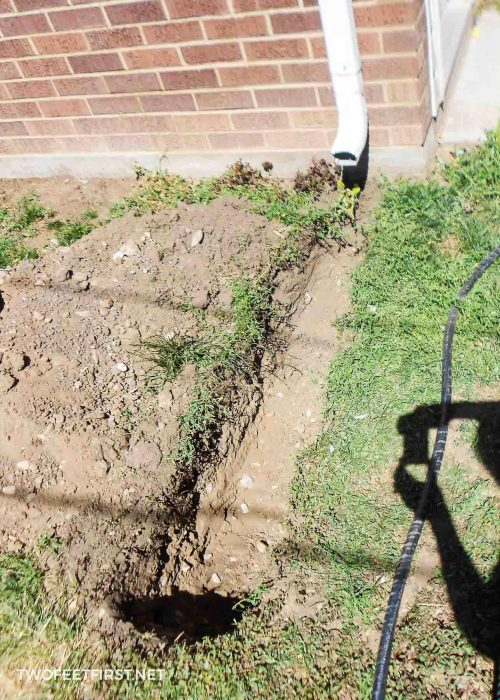 dig for a buried downspout