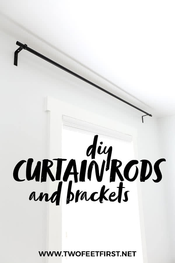 Make your home more inviting and cozy by adding curtains to the windows. But use this budget-friendly tutorial on how to make DIY curtain rods and bracket. This project is an easy and cheap way to update your home decor. #twofeetfirst #curtains