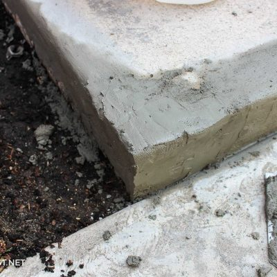 repairing corner of concrete step