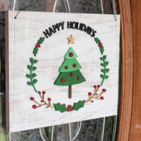 DIY Wooden Holiday Wreath Door Sign