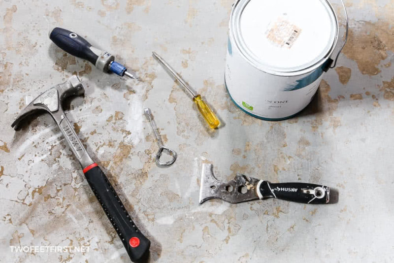 supplies to open a can of paint