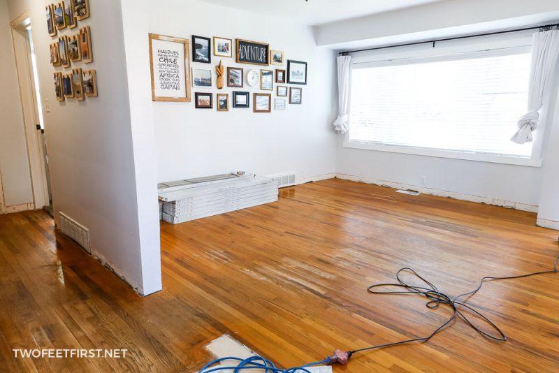 old wood floor before installing LVP