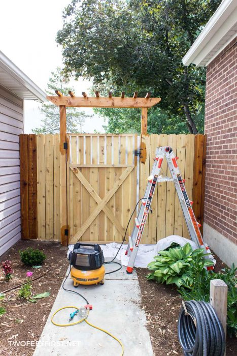 staining a fence