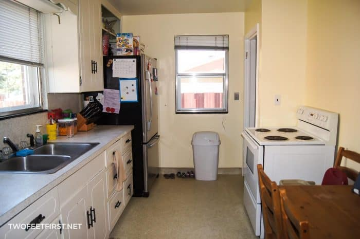 kitchen before adding microwave