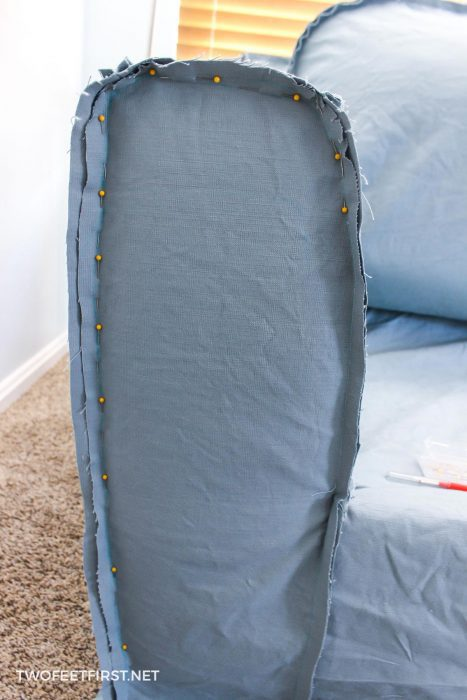 sewing arm of slipcover