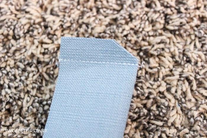 cut corner of fabric