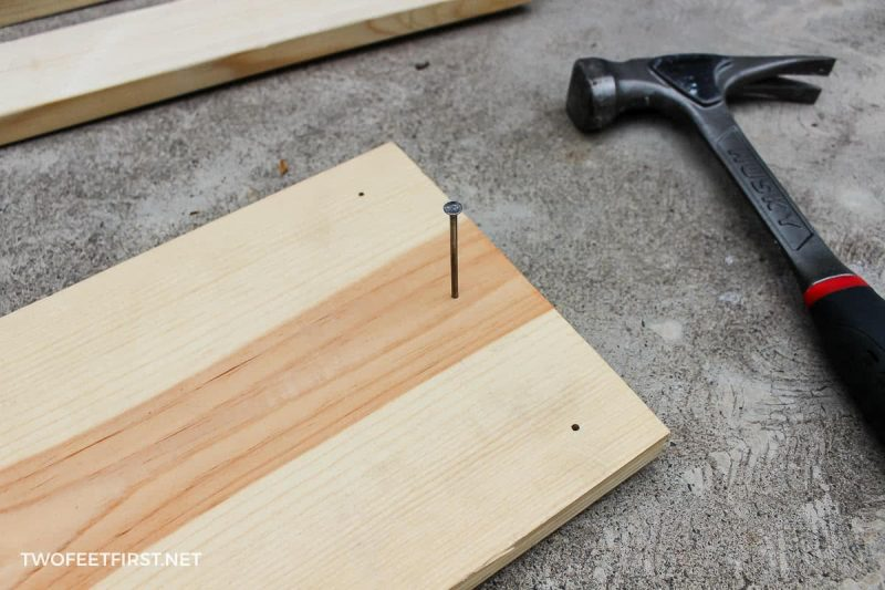 nail in board to look old