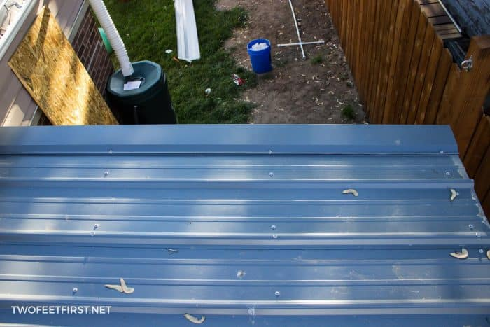 metal shed roof after installed placement of screws