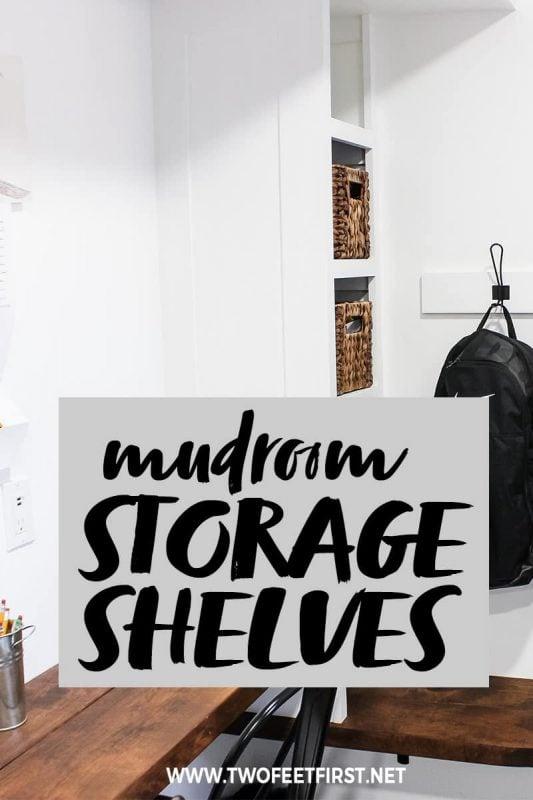 DIY mudroom storage shelves