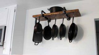 DIY Industrial Pan Storage Rack