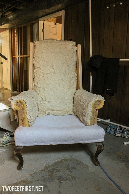 Update a wing back chair by removing the wings