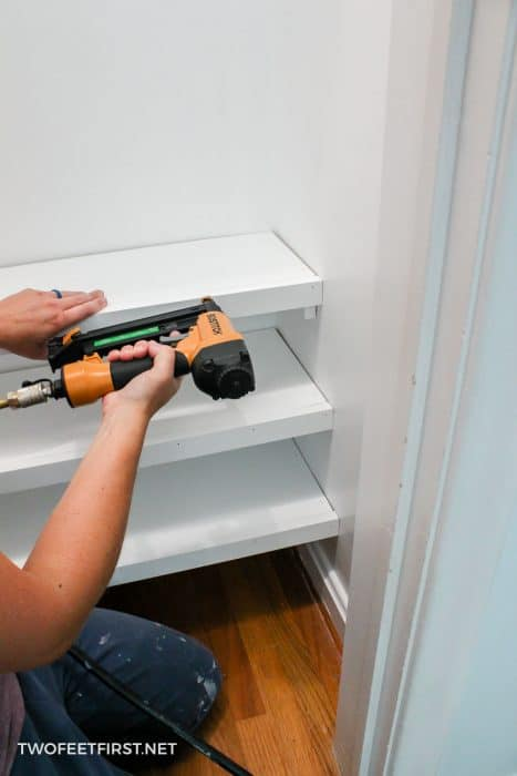nailing trim to closet shelf