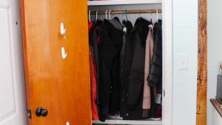 Small entry closet makeover on a budget