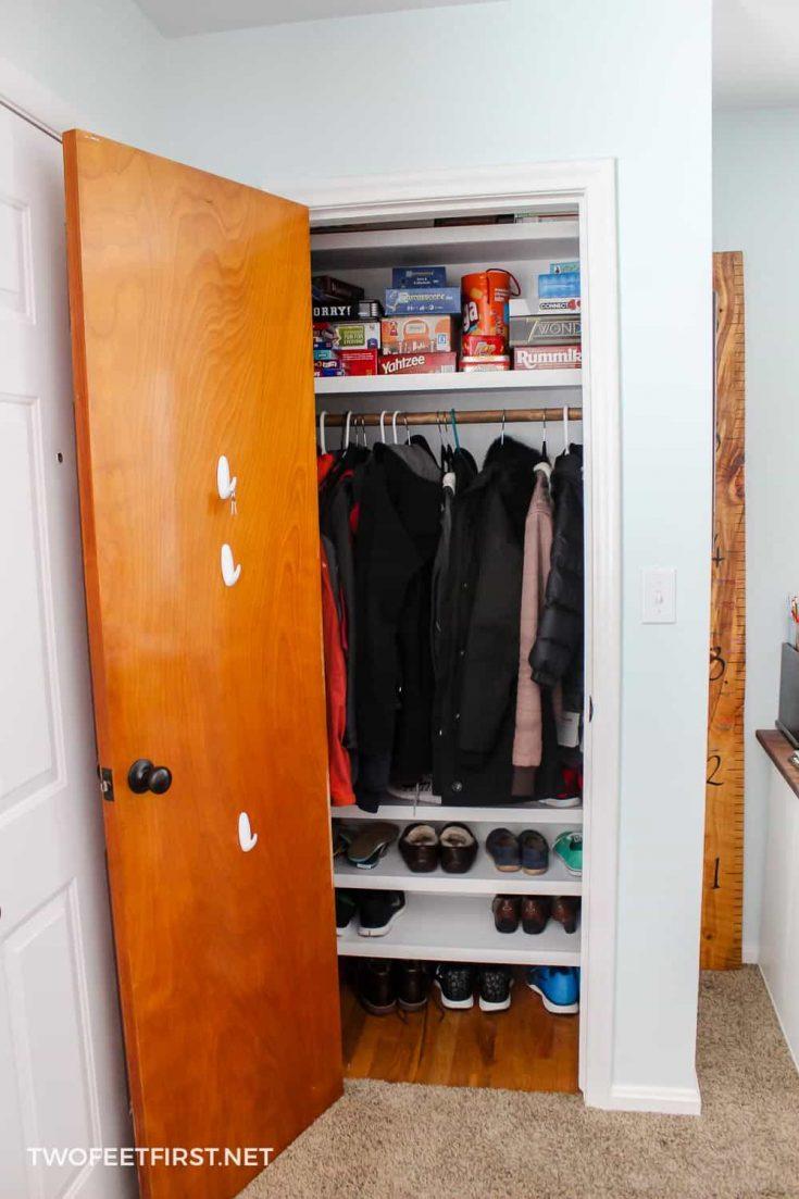 entry closet makeover on budget