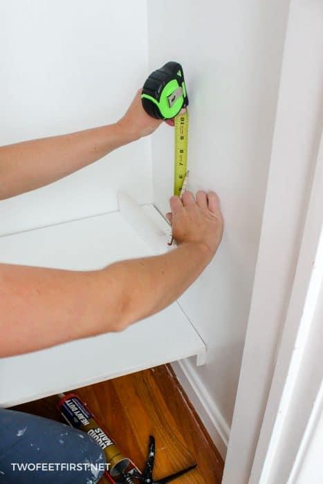 measuring distance between shelf for closet