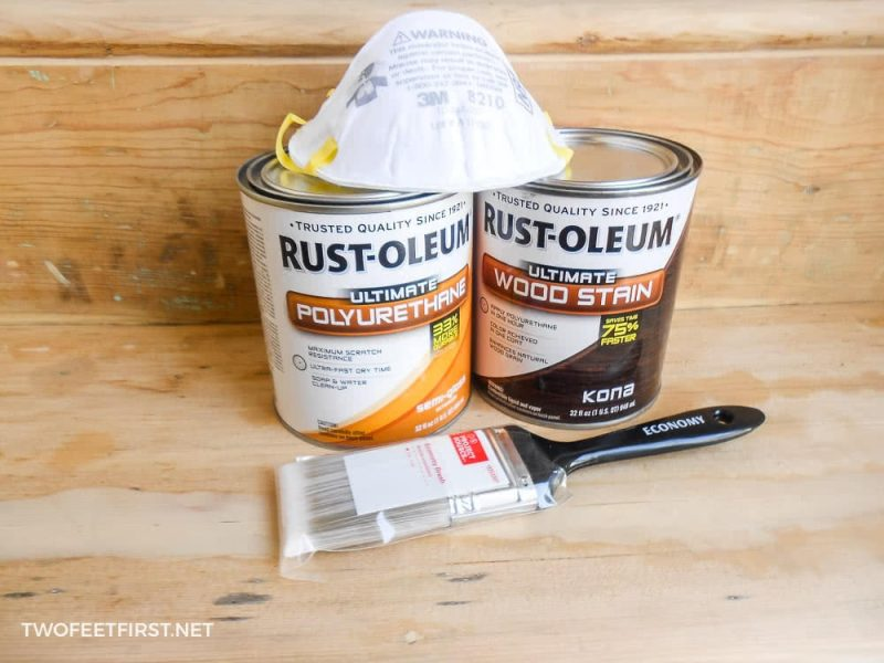supplies to apply stain to staircase