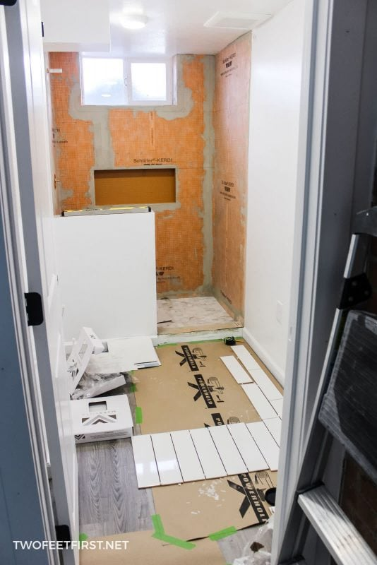 layout for tile shower