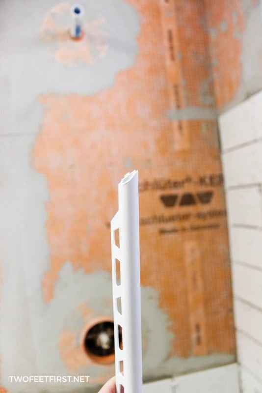 cutting pvc trim for tile edge in shower