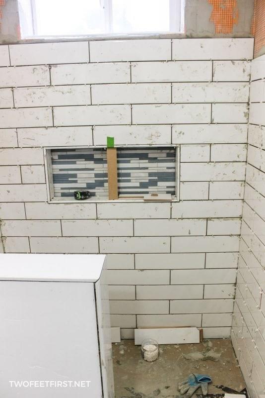 tile around shower niche