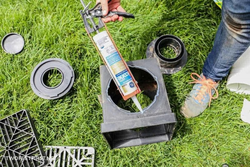 apply silicone to catch basin for underground drainage