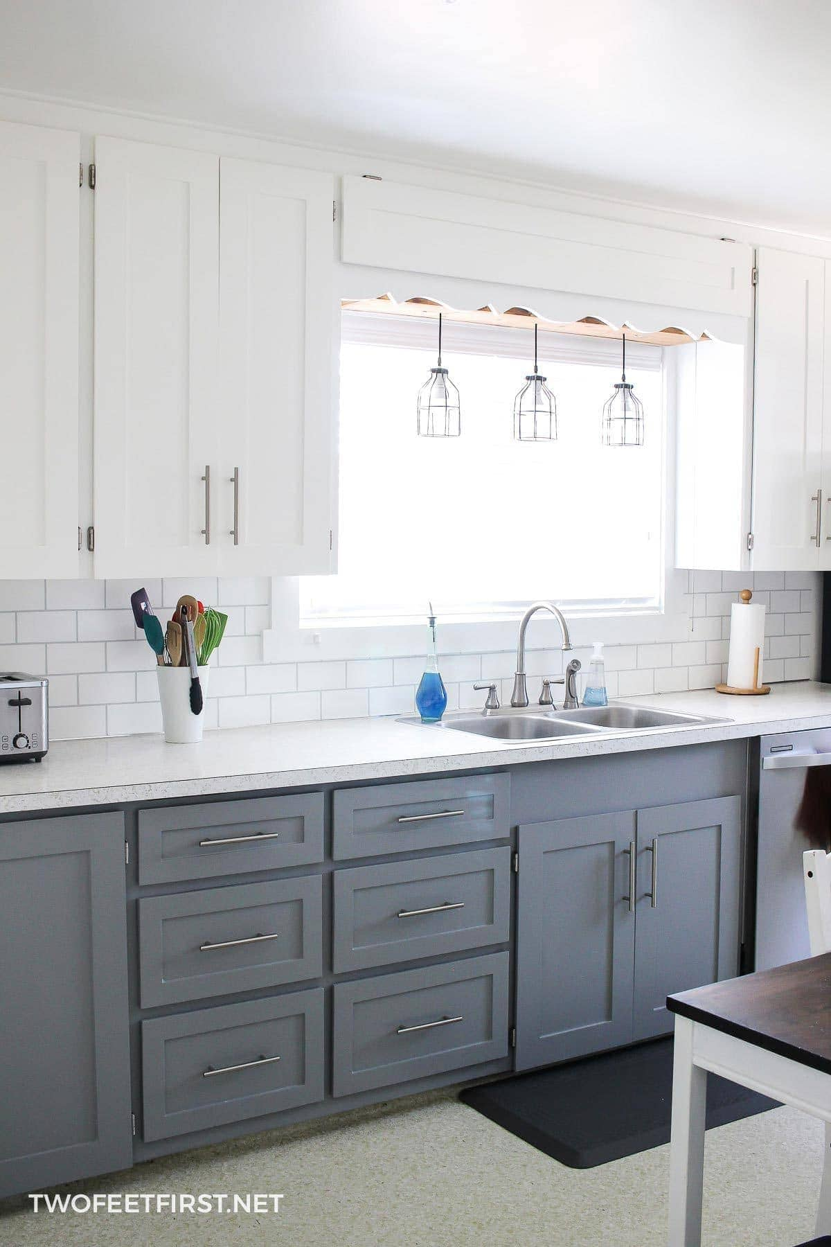 paint kitchen cabinets white and grey