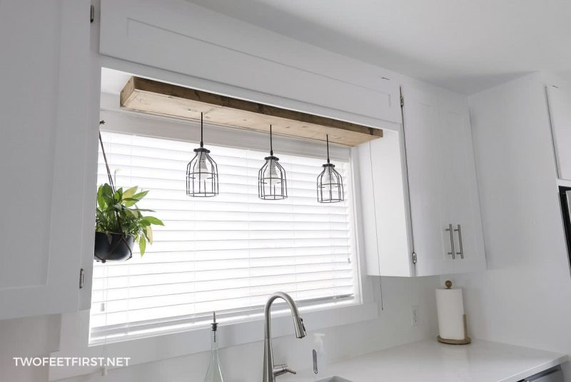 DIY pendant lights with wooden box above kitchen sink