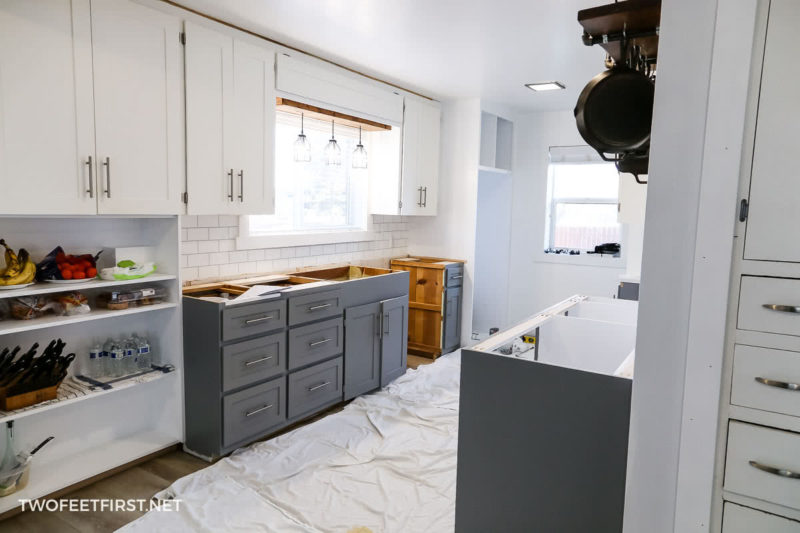 process of updating kitchen cabinets